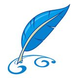 Feather pen drawing. Vector feather pen drawing flower Stock Photos
