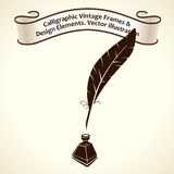 Feather pen ink. Calligraphic ribbon roll letter. Vintage Royalty Free Stock Photography
