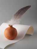 Feather pen and paper. Feather pen paper ink write white letter Stock Photography