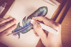 Feather Picture Drawing. Colorful Feather Picture Drawing by the Artist. Drawing Theme Royalty Free Stock Photo
