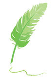Feather quill. With stroke over white background stock illustration