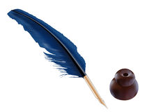 Feather quill and inkwell. An illustration of a blue feather quill with a brown inkwell Stock Photo