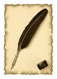 Feather quill and inkwell on an old paper Stock Photos