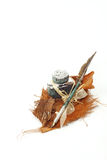 Feather quill and inkwell Stock Photos