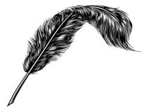 Feather Quill Pen. A vintage feather quill pen in retro woodcut line art style royalty free illustration