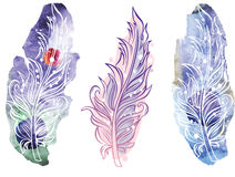 Feather on raster watercolor background Stock Photos