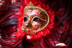 Feather red & black mask 3 Stock Photo