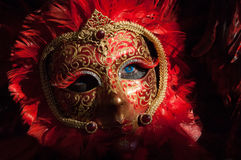 Feather red & black mask Royalty Free Stock Photo