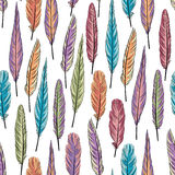 Feather seamless pattern. Colorful illustration of feathe. Rs over white background stock illustration