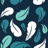 Flying feathers seamless pattern. Vector design template royalty free stock image