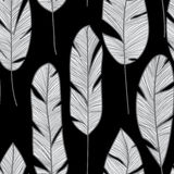 Feather seamless pattern. Texture with bird feathers. Monochrome background. Use it as a pattern on fabric or Wallpaper royalty free illustration