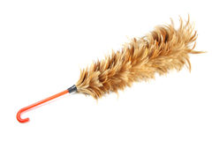 Feather soft duster with plastic handle. Royalty Free Stock Images