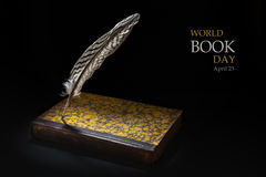 Feather standing on an old book against a black background, samp Stock Image