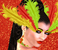 Feather style make up on woman`s face. Colorful pop art image of woman`s face with feathers as part of her cosmetics. This is a 3d rendered digital art image of Royalty Free Stock Image