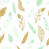 Feather tribal seamless pattern. Royalty Free Stock Image