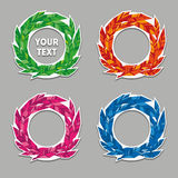 Feather Wreath Vector Set Royalty Free Stock Photos
