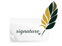 Feather writing. Signature message on white card Stock Photography