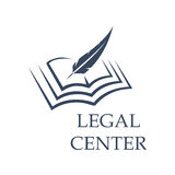 Feather writing on book as legal center sign. Legal center symbol as feather writing on book. Judgment certificate or police document, crime verdict icon Stock Photo