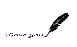 Feather writing love you Stock Photography