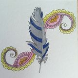 Feather Zen doodle pen and ink drawing Stock Image