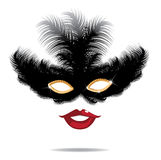 Feathered mask and sexy red lips EPS 10 vector Royalty Free Stock Photos