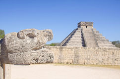Feathered Serpent at Chichen Itza Stock Photo
