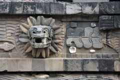 Feathered Serpent at the Temple of Quetzalcoatl, Teotihuacan Royalty Free Stock Photos