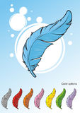Feathers. With a set of different colors Royalty Free Stock Images