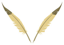 Feathers. Two beige feathers placed in a V shape royalty free illustration