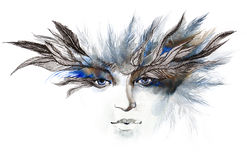 Feathers around eyes Stock Photography