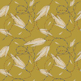 Feathers and beads, seamless pattern Stock Photo