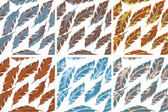 Feathers Bird seamless pattern set. Retro, doodle style. Feather endless background, texture, backdrop. Vector. Illustration Royalty Free Stock Photos