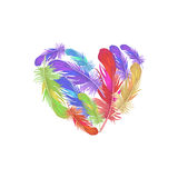 The feathers of birds and heart. Illustration of St. Valentine's Day Stock Images