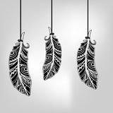 Feathers black and white graphic drawing. vector vector illustration