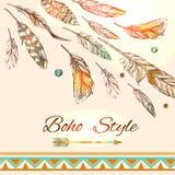 Feathers boho style Stock Images
