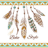 Feathers boho style Royalty Free Stock Photos