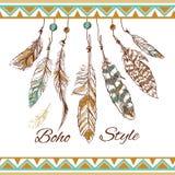 Feathers boho style vector illustration
