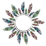 Feathers circle frame. Circle frame with different color feathers isolated on white background vector illustration
