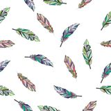 Feathers color background. Seamless tribal boho background with different feather silhouettes vector illustration