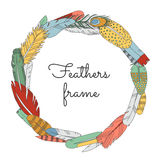 Feathers doodle multicolored circle frame. Cartoon naive style. Royalty Free Stock Photo