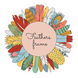 Feathers doodle multicolored circle frame (with place for your text). Cartoon naive style. Stock Image