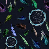 Feathers, dream catcher, black background. Repeating pattern. Watercolor Stock Image
