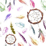 Feathers, dream catcher. Seamless pattern for fashion design. Watercolor royalty free illustration