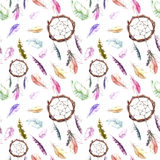 Feathers, dream catcher. Seamless repeating pattern. Watercolor background Royalty Free Stock Photography