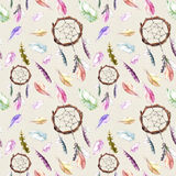 Feathers, dream catcher. Seamless repeating pattern. Watercolor background stock illustration