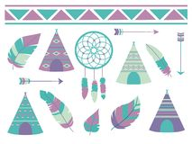 Feathers, dreamcatcher, arrows and tipi tent with bohemian ethno pattern, a cute cartoon style vector illustration collectio
