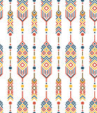 Feathers with ethnic pattern. In vector isolated on a white background. Seamless pattern Royalty Free Stock Photography