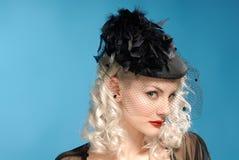 feathers forties girl gorgeous hat retro Στοκ Εικόνες