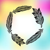 Feathers frame with colorfull print. Vector illustration. Stock Photos