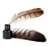 Feathers and ink bottle Royalty Free Stock Images
